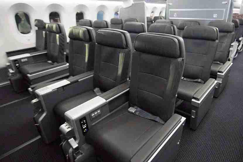 The 2-3-2 premium economy cabin on AA