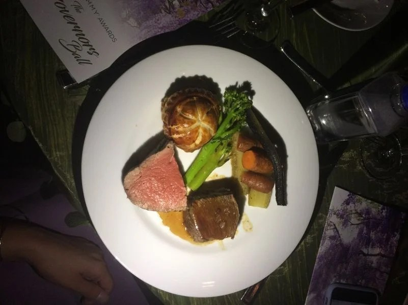 The main course featured two different cuts of beef.