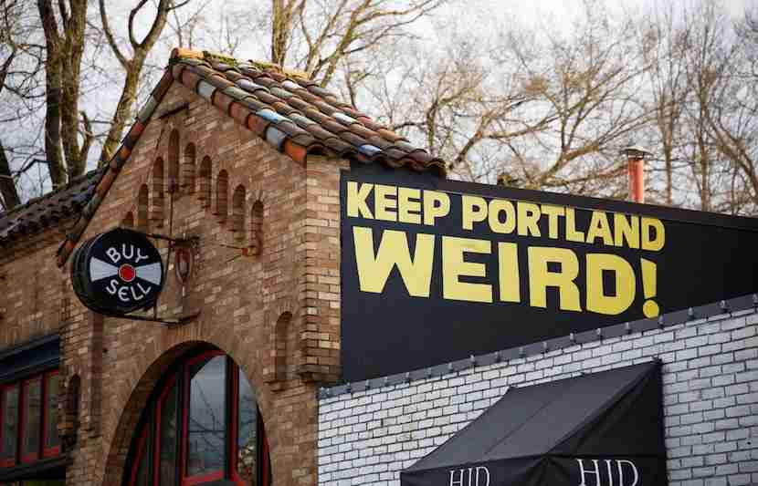 "Portlanders have lots of idea as to how to ""Keep Portland Weird."" Image courtesy of <a href=""http://www.shutterstock.com/pic-373912246/stock-photo-portland-or-february-2-2016-keep-porltland-weird-sign-at-a-well-known-record-store-in-downtown-pdx.html?src=8DDBeR4B7Lf1NXVhqkAFMg-1-0"">Shutterstock</a>."