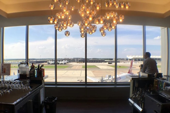 You can see the tarmac from the British Airways lounge at IAD.