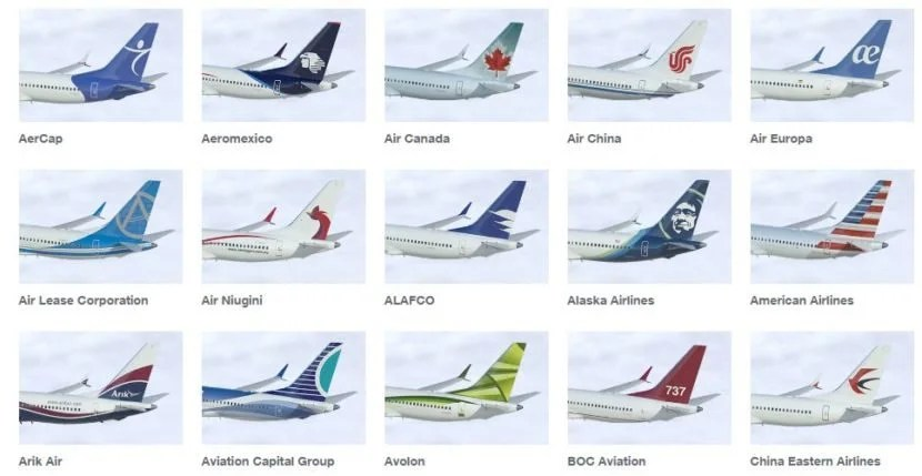 Just the first 15 of Boeing's 737 MAX customers. Image courtesy of Boeing.