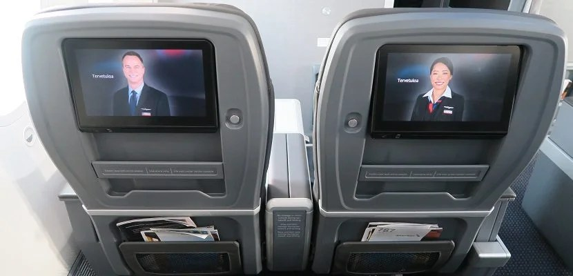The seat-backs have a storage tray and a seatback pocket.