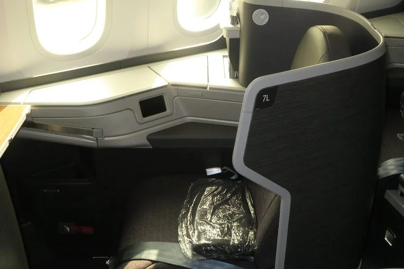My seat at boarding, including a simple blanket.