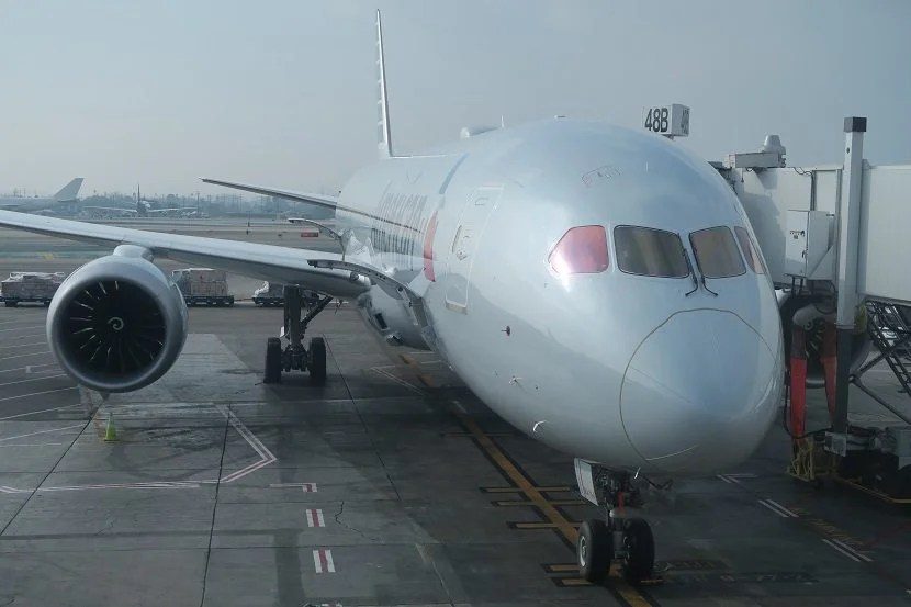 The outside of the new 787-9 Dreamliner.