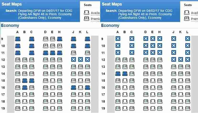 Premium economy seats are unblocked on April 1, but fully blocked the next day.