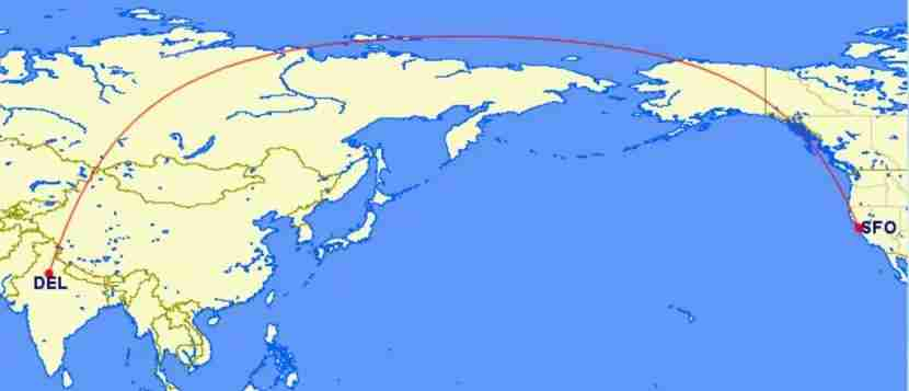 The shortest distance between DEL and SFO travels much further north.