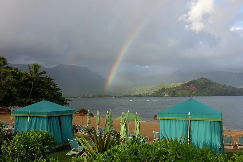 Rainbows are a regular happening at the St. Regis Princeville