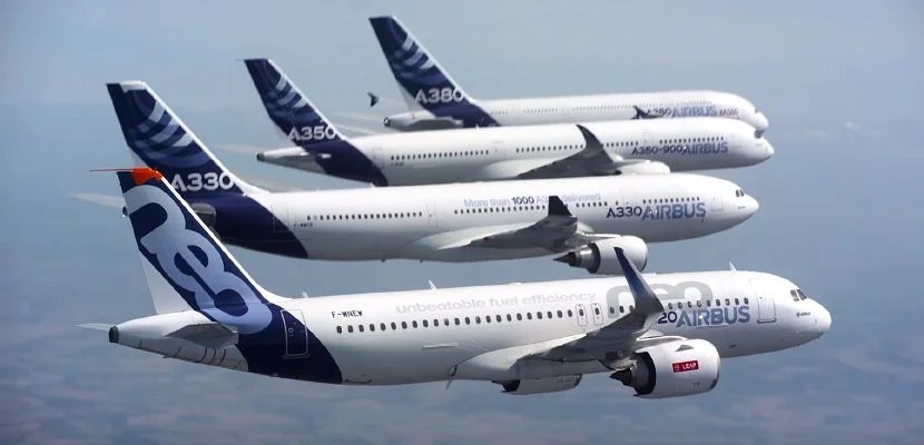Watch the Airbus Family Fly in Formation Together