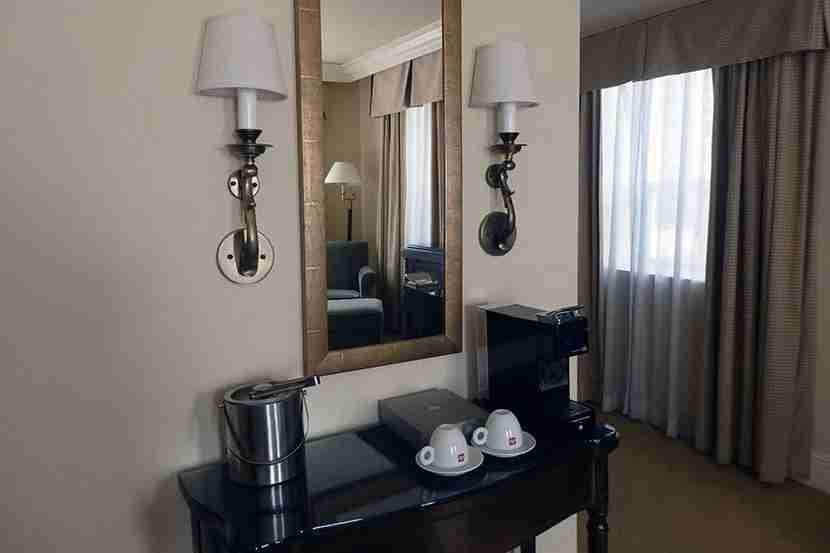 The coffee bar in the bedroom also doubled as a vanity.