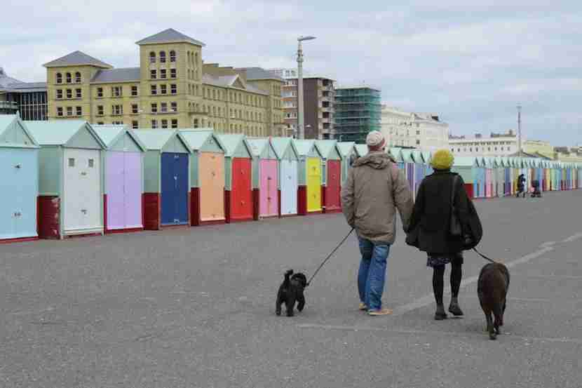Hove's multi-colored beachfront storage huts are iconic in these parts. Image by the author.