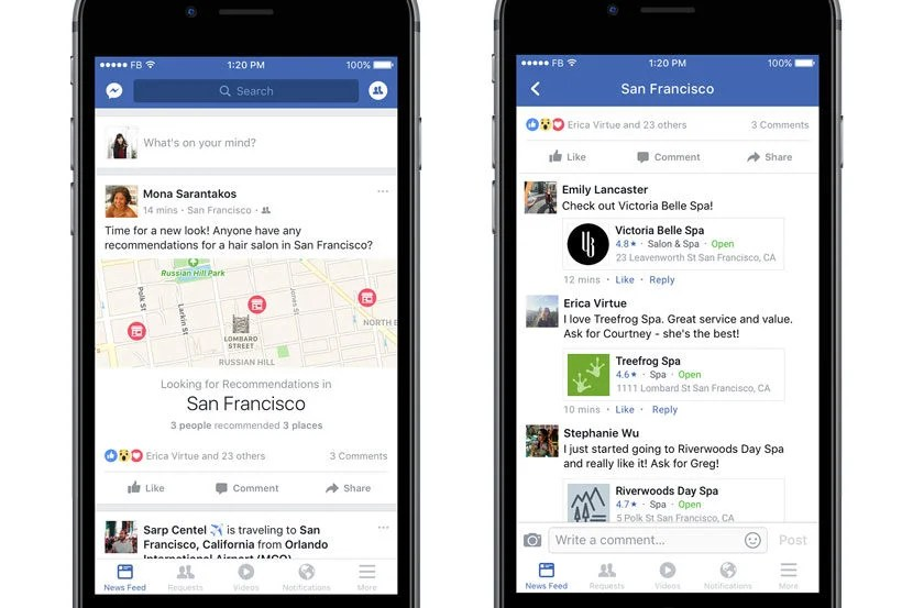 A preview of Facebook's new recommendations feature.
