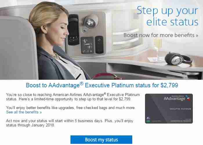 American Airlines is offering this member a chance to boost to a status he will earn in just a few weeks.