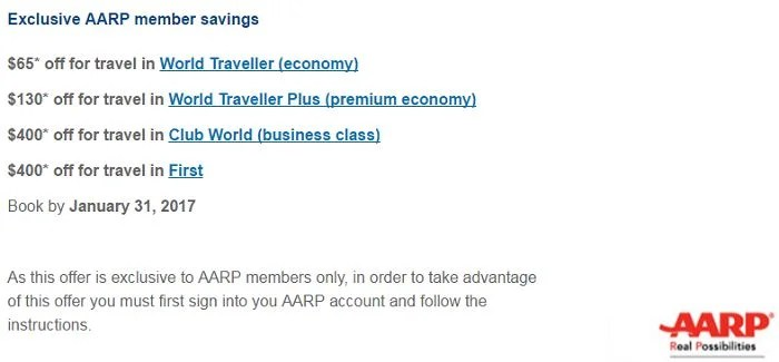 Save even more by combining this promotion with the British Airways AARP discount.