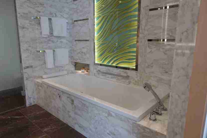 The marble bathroom was spacious and elegant.