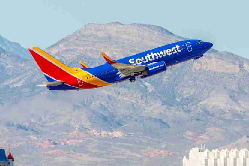 Boeing 737 Southwest Airlines takes off from McCarran International Airport