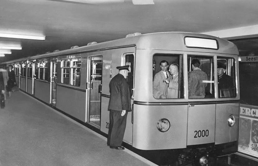 A Berlin U-Bahn train car in 1956 (Photo by Pressefoto Kindermann/ullstein bild via Getty Images).