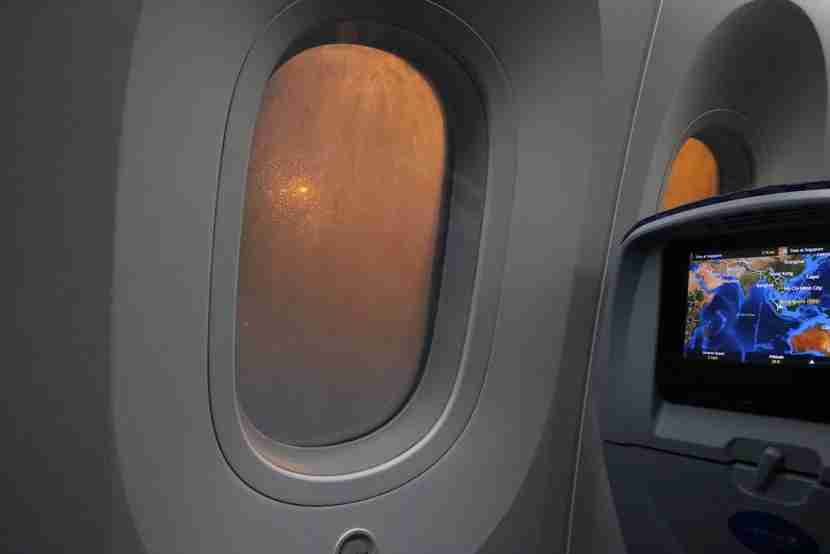 The Dreamliner window before dimming