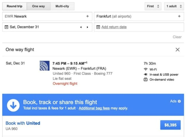 United Polaris first on Google Flights.