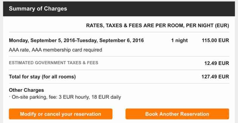 The AAA rate of 115 Euros per night plus taxes.