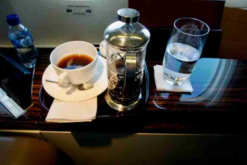 Getting your own French press on a plane is a treat