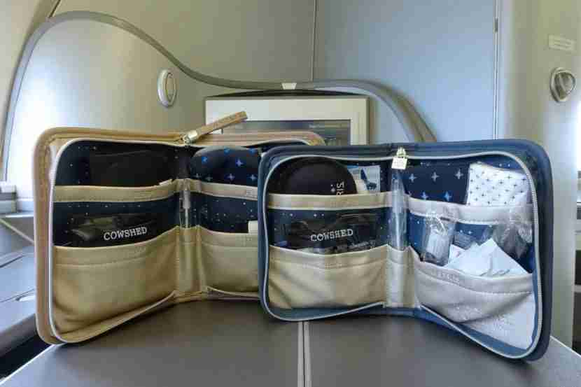 The Polaris first amenity kit (left) vs. business class (right).