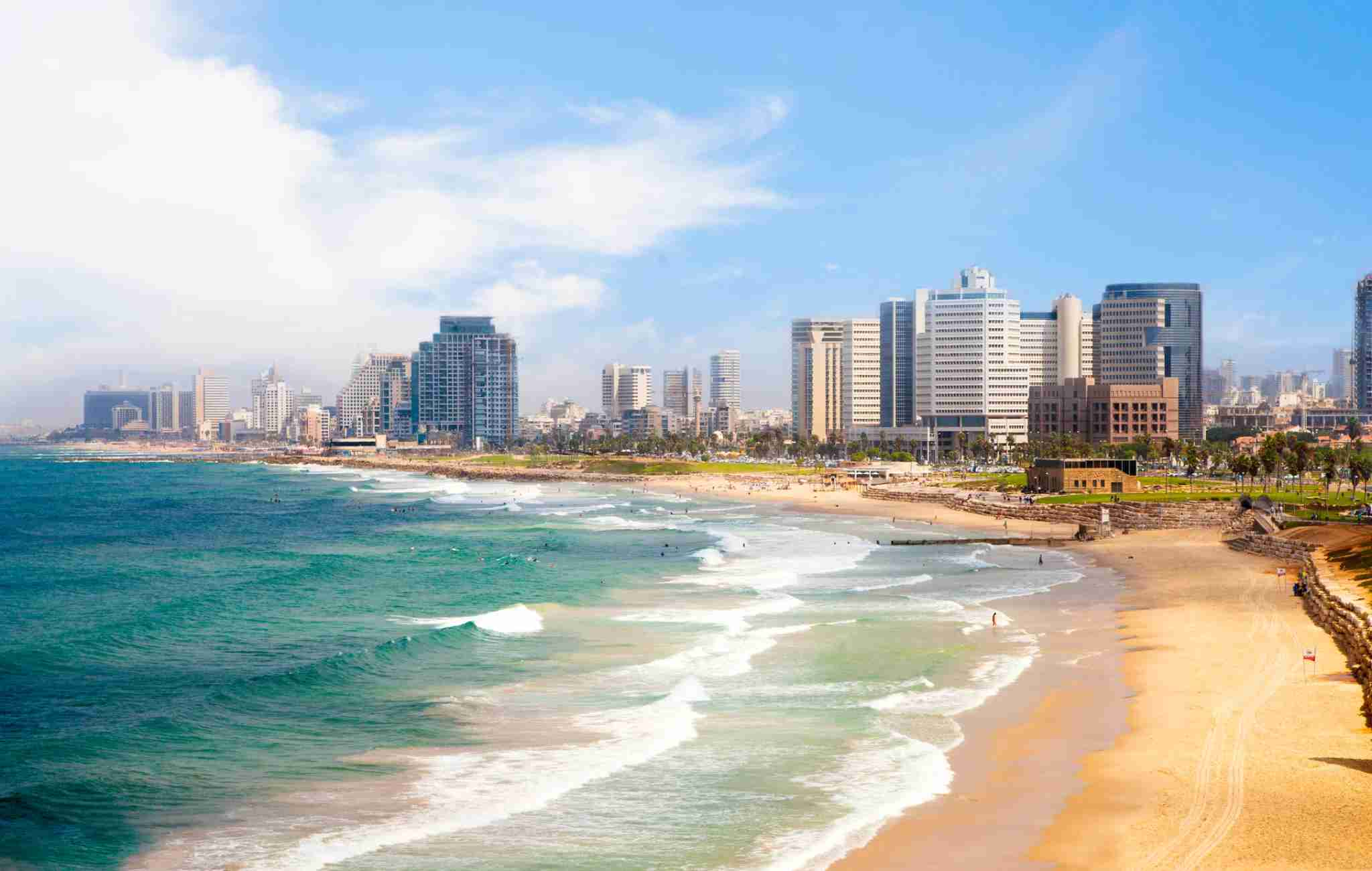 The Tel Aviv beachfront is gorgeous. Image courtesy of stellalevi via Getty Images.