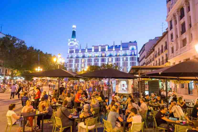 Dinners can run long into the night in Madrid. Photo courtesy of Alex Segre via Getty.