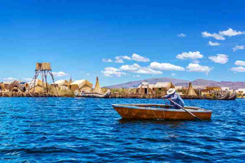 The famous floating villages of Lake Titicaca. Image courtesy of Getty Images.
