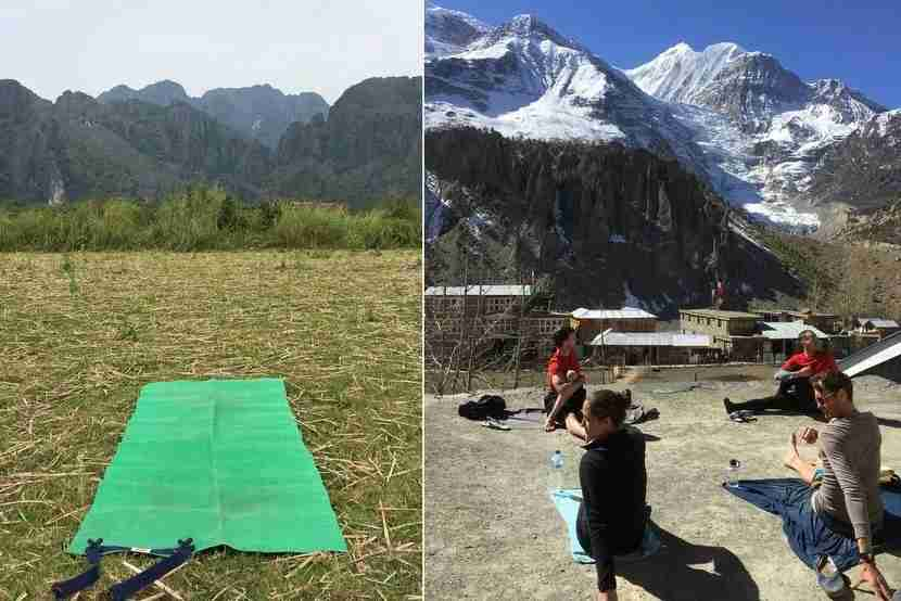 Two of my better yoga practices from the last year - an empty field in northern Laos and a guesthouse rooftop in Manang, Nepal