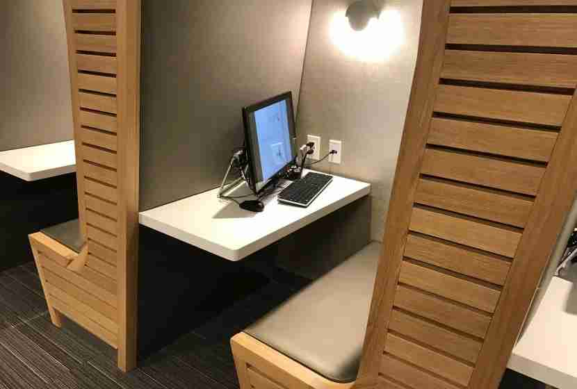 Work stations in the International First Class Lounge in JFK.