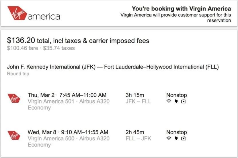 google flights adds direct bookings for virgin america. Black Bedroom Furniture Sets. Home Design Ideas