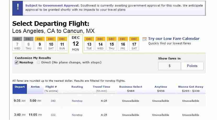 Southwest flights from Monday-Thursday aren