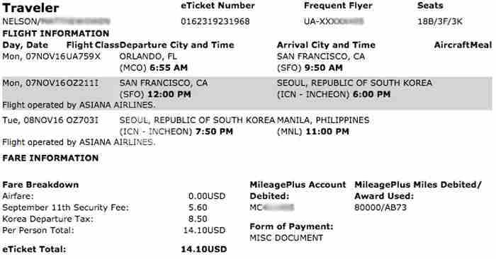 United Asiana award ticket MCO-MNL