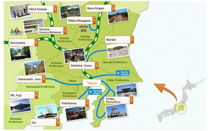 Just a few of the destinations you can visit with the JR TOKYO Wide Pass. Image courtesy of East Japan Railway Company.
