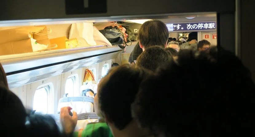 There was standing room only in the non-reserved cars of some trains - which you can avoid by getting a seat reservation.
