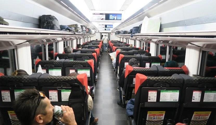 The interior of the Narita Express.