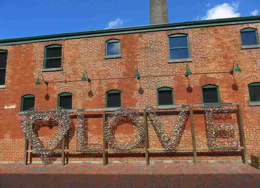 """Toronto's Distillery District offers plenty of """"love."""" Image by the author."""