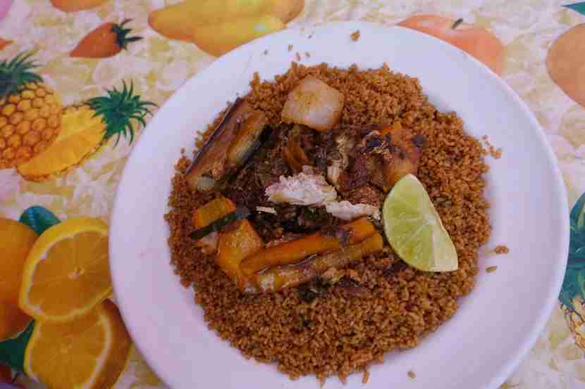 A plate of<em> thiebou dieune</em>. Image by the author.