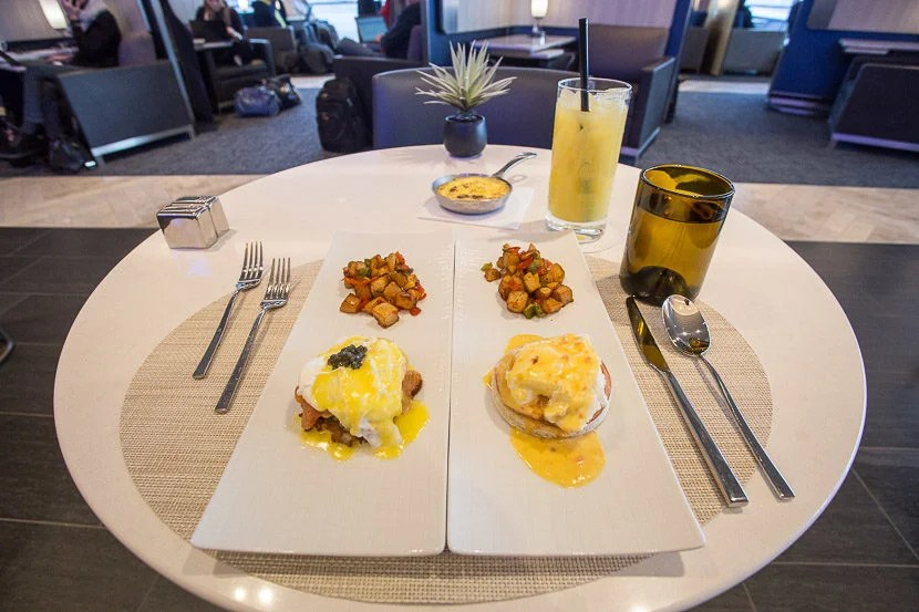I ordered the Eggs Benedict and smoked salmon with potato latke and caviar side-by-side - a delicious decision.