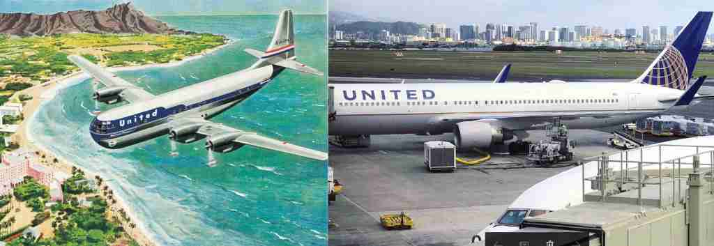 A vintage poster of a 1950s United aircraft flying to Hawaii next to a United 767-300 in Honolulu from 2017.