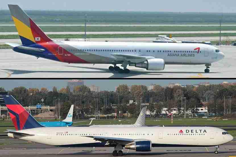 "The key differences between the Boeing 767-300 (top) and 767-400 lie in the body style, exits and noses. The 767-300 has more of a snub nose and exits over the wings. Asiana Airlines 767-300 image courtesy of Hugh Llewelyn via <a href=""https://www.flickr.com/photos/camperdown/6052910463/in/photolist-adSKpe-5hMdCz-obetWm-pf6WXF-4mht9h-5hRzkS-q8YnGA-5hRz2u-obeqzS-yKTFG-5fU1UP-5hMxGZ-4mhriN-7sfoDp-bBTRCU-fjVtyw-4SqRKp-4Sp4Sz-nTNXh7-qPgNKN-ocPx3u-e2AuoG-rATjXY-ypd7e-obapt3-ozbXAo-e2FcTQ-fdhxiM-sgrmyM-4ZKsT4-69ULDQ-nTP4VC-4mdnZc-pycyxb-5hRUoh-dTEn4v-a3yT7e-bqTPFU-4SoEoV-4j92s5-obaEoy-nw1FXD-gSaSUw-nTPtSd-dJJLaQ-src9T3-bmxyH1-Ckdwx-dKcBCd-7rwA8P"" target=""_blank"">Flickr</a>; Delta Air Lines 767-400 image courtesy Bram Steeman via <a href=""https://www.flickr.com/photos/130469564@N06/16212616176/in/photolist-qGDTX7-neNYj4-okbKv-e6ctNX-q8yx7e-c4LHcS-qDJcNA-7uK5Ue-8j85L8-aYkMsn-7vkQTT-c4MiJ3-7uNTPm-7Uu2Ec-bcSDyT-7ZaqL8-q8ysT4-8Bcd82-naxfmH-c4M11j-8jbm1y-7uNDvU-8TEec6-naxfqL-7vo9RU-8j88dR-H89Koa-8j86nk-7vFpiK-3msm9Y-7vAWZx-bZ4GfN-89u75E-pvN33c-8yrrzo-c4LQab-7vsRdV-7vxbXY-7TbLHu-bddx3g-c4MeUA-7vsSCp-cgeiD7-b1boUH-7vsREr-eemWz4-7vKWZs-bLjBhK-aYkNdX-bLjB8T"" target=""_blank"">Flickr</a>."
