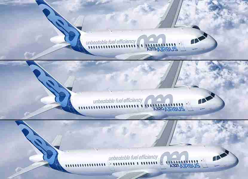 The key differences in the Airbus A320 family can be found in the number and location of emergency exits across the body. Images courtesy of Airbus.