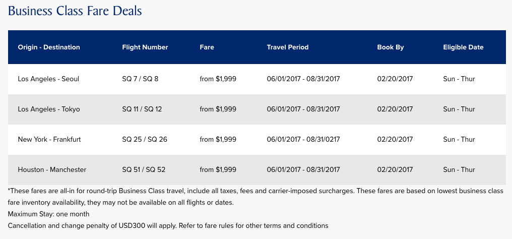 Singapore Air Offers Business Class at $1,999 on Limited Routes