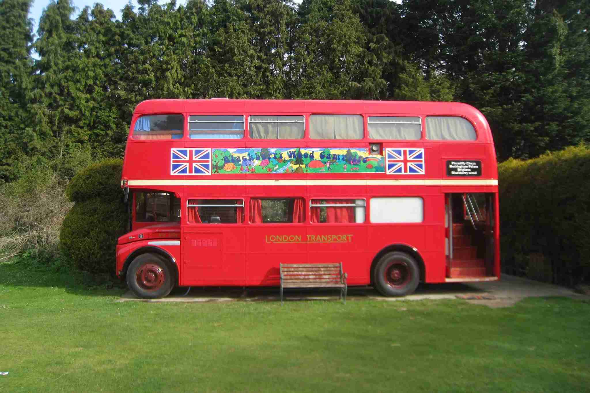 You also have the option to sleep in this double-decker bus. Image courtesy of Blackberry Wood.