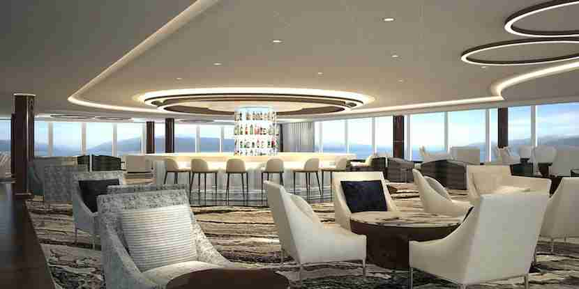 The 20,000 square-foot Observation Lounge, located at the front of the ship, offers 180-degree views and a 360-degree bar. Image courtesy of Norwegian Cruise Line.