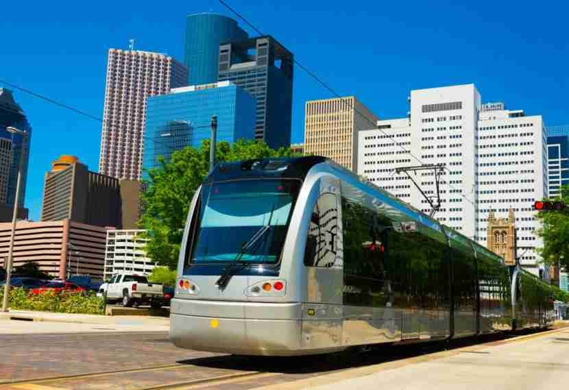 A Houston METRORail light rail train in Downtown Houston. Davel5957 via Getty Images.