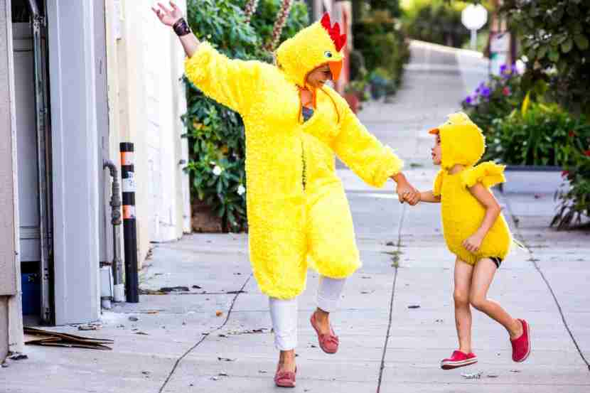 Sure, you both like the color yellow, but maybe go with a mix-and-match hoodie and trousers instead. Image courtesy ofAdam Hester via Getty Images.