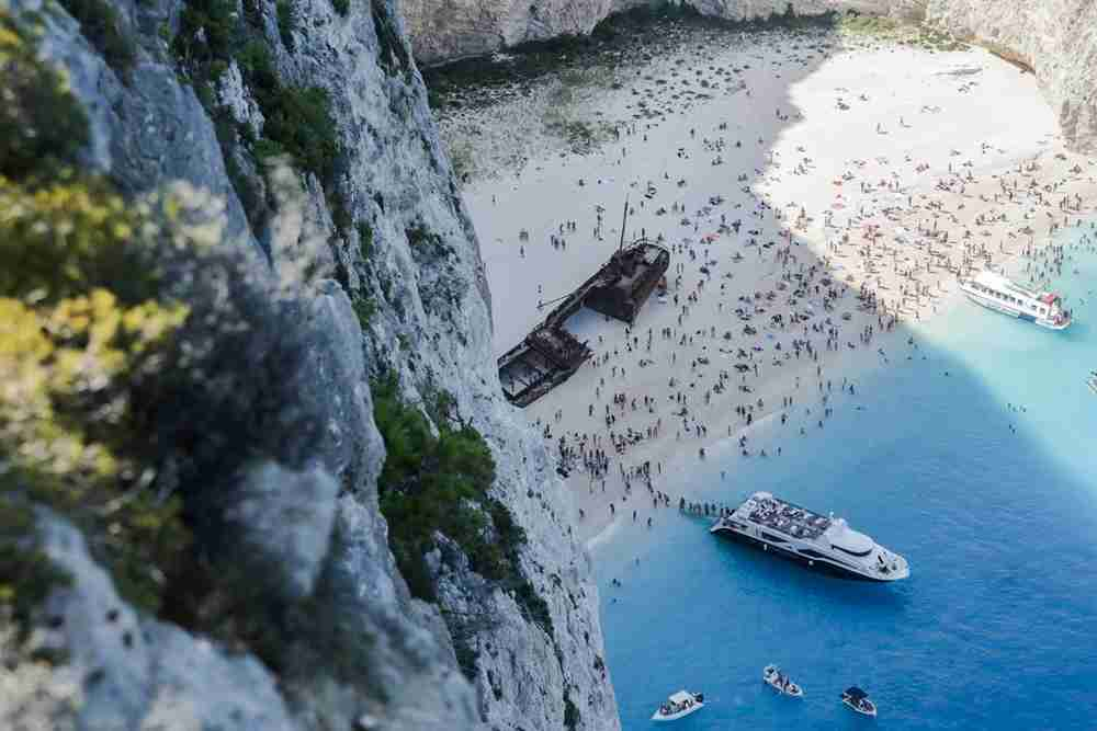 A view of the shipwreck on Zakynthos. Image courtesy of NurPhoto via Getty Images.