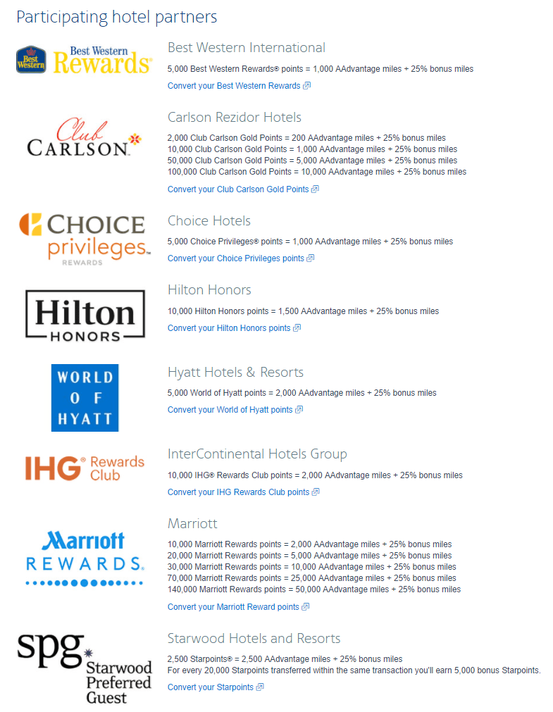 AA hotel transfer bonus
