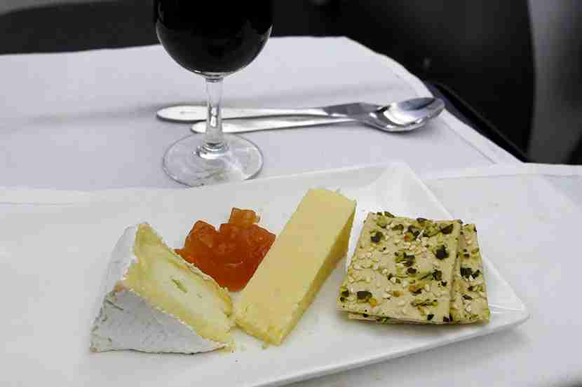 Cheese is always mild (no blue) and crackers limited, but the port wine is tasty.
